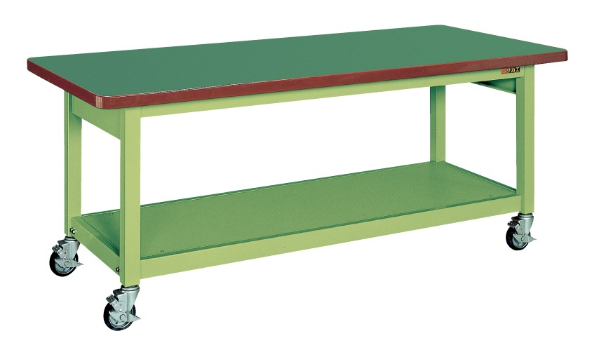 【直送】【代引不可】サカエ(SAKAE) 重量作業台KWB移動式 900X600X740 本体グリーン サカエリューム天板グリーン KWBF-096