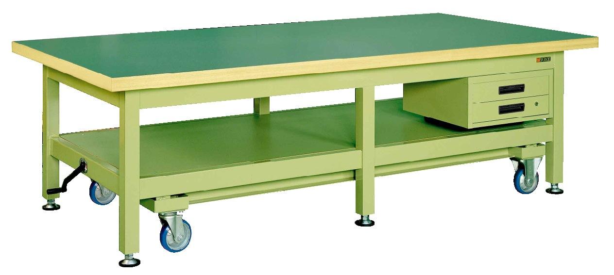 【直送】【代引不可】サカエ(SAKAE) 超重量作業台KWC・ハンドル昇降移動式 引出し2段付 2400X1200X740 本体グリーン サカエリューム天板グリーン KWCF-2412B