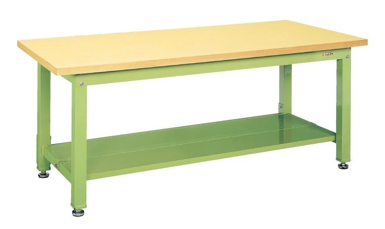 【直送】【代引不可】サカエ(SAKAE) 重量作業台KW中板2枚付 1800X900X740 本体グリーン 合板天板 KWG-189T1