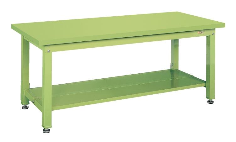 【直送】【代引不可】サカエ(SAKAE) 重量作業台KW中板2枚付 1500X800X740 本体グリーン スチール天板グリーン KWS-158T1