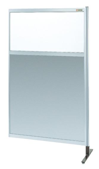 【直送】【代引不可】サカエ(SAKAE) パーティション 透明塩ビ(上) アルミ板(下)タイプ(連結) 900X1550 NAE-35NR