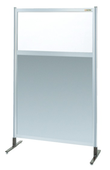 【直送】【代引不可】サカエ(SAKAE) パーティション 透明塩ビ(上) アルミ板(下)タイプ(単体) 1530X1550 NAE-55NT