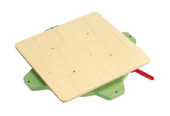 【直送】【代引不可】サカエ(SAKAE) クルクル回転盤 樹脂製 ハンドストッパー付 400X499 合板天板 グリーン PS-40T