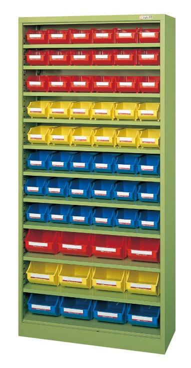 【直送】【代引不可】サカエ(SAKAE) コンテナラックケース ボックス付 小48・大12 852X320X1800 アイボリー SCR-18CI