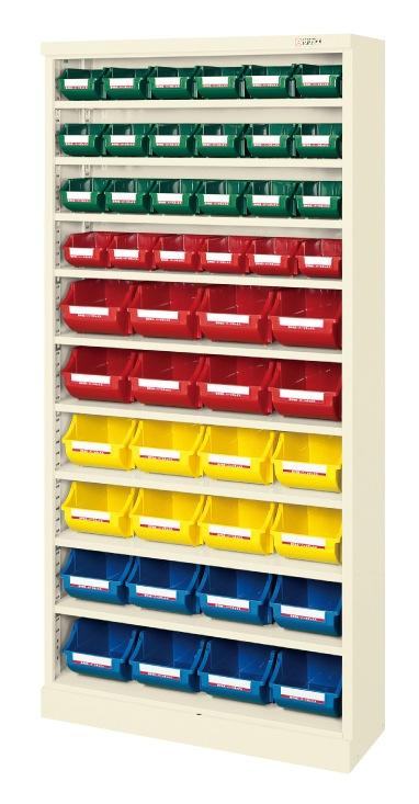 【直送】【代引不可】サカエ(SAKAE) コンテナラックケース ボックス付 小24・大24 852X320X1800 アイボリー SCR-18FI
