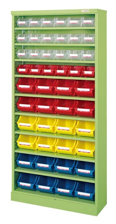 【直送】【代引不可】サカエ(SAKAE) コンテナラックケース ボックス付 小24・大24 852X320X1800 アイボリー SCR-18GI