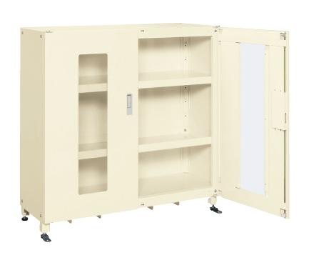 【直送】【代引不可】サカエ(SAKAE) スーパージャンボ保管庫 透明窓付 棚板耐荷重150kg 1220X450X1200 アイボリー SKS-124512MAI