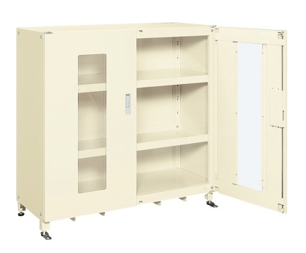 【直送】【代引不可】サカエ(SAKAE) スーパージャンボ保管庫 透明窓付 棚板耐荷重150kg 1220X520X1200 アイボリー SKS-125212MAI