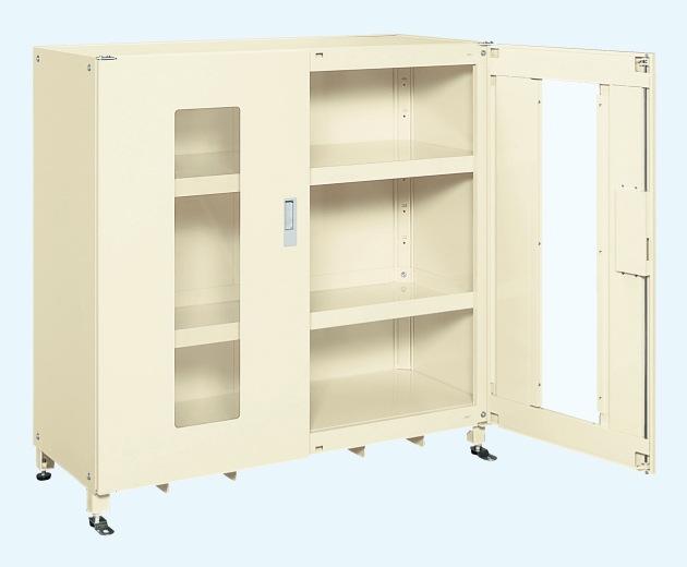 【直送】【代引不可】サカエ(SAKAE) スーパージャンボ保管庫 透明窓付 棚板耐荷重80kg 1220X520X1200 アイボリー SKS-125212AIK