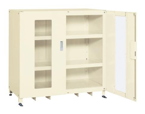 【直送】【代引不可】サカエ(SAKAE) スーパージャンボ保管庫 透明窓付 棚板耐荷重80kg 1220X670X1200 アイボリー SKS-126712AI