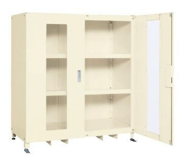 【直送】【代引不可】サカエ(SAKAE) スーパージャンボ保管庫 透明窓付 棚板耐荷重80kg 1220X670X1500 アイボリー SKS-126715AI