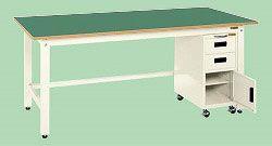【直送】【代引不可】サカエ(SAKAE) 軽量作業台KK キャビネットワゴン付 1200X750X740 本体アイボリー サカエリューム天板グリーン KKF-127JI