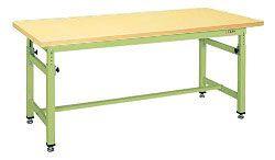 【直送】【代引不可】サカエ(SAKAE) 重量高さ調整作業台TKW 1800X800X740~1040 本体グリーン 合板天板 TKW-188GK