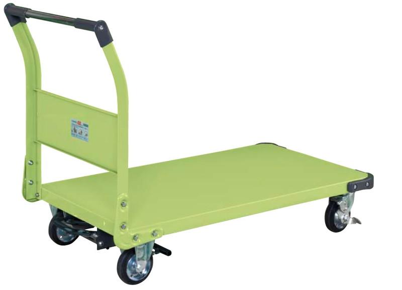 【直送】【代引不可】サカエ(SAKAE) 特製四輪車(固定ハンドルタイプ・フットブレーキ付) TAN-66BR