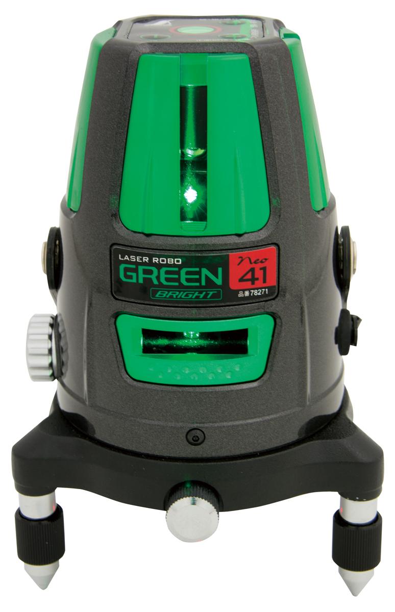シンワ測定 レーザーロボ グリーン Neo 41 BRIGHT 縦・横・大矩・通り芯・地墨 78271