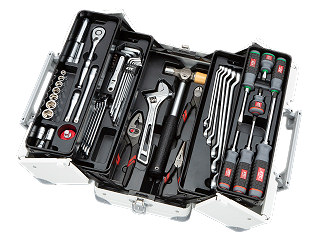 【SK19】KTC(京都機械工具) 工具セット 両開きメタルケースタイプ 9.5sq. 56点組 ホワイト SK35719WWH