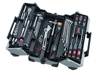 【SK19】KTC(京都機械工具) 工具セット 両開きメタルケースタイプ 9.5sq. 57点組 メタリックシルバー SK35719WZ