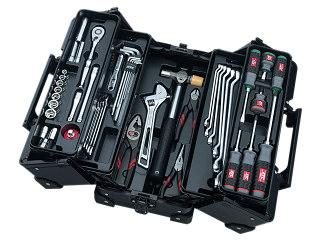 【SK19】KTC(京都機械工具) 工具セット 両開きメタルケースタイプ 9.5sq. 57点組 ブラック SK35719WZGBK