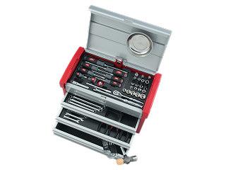 【直送・代引不可】【SK19】KTC(京都機械工具) 工具セット チェストタイプ 9.5sq. 66点組 シルバー×レッド SK36619E