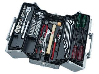 【SK19】KTC(京都機械工具) 工具セット 両開きメタルケースタイプ 12.7sq. 41点組 メタリックシルバー SK44119WM