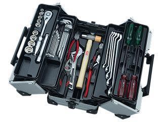 【SK20】KTC(京都機械工具) 工具セット 両開きメタルケースタイプ 12.7sq. 41点組 メタリックシルバー SK44120WMZ