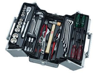 【SK19】KTC(京都機械工具) 工具セット 両開きメタルケースタイプ 12.7sq. 51点組 メタリックシルバー SK45119WM