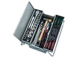 【SK19】KTC(京都機械工具) 工具セット 両開きメタルケースタイプ 12.7sq. 53点組 メタリックシルバー SK45319M