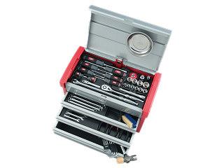 【直送・代引不可】【SK19】KTC(京都機械工具) 工具セット チェストタイプ 12.7sq. 59点組 シルバー×レッド SK45919E