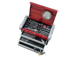 【直送・代引不可】【SK19】KTC(京都機械工具) 工具セット チェストタイプ 12.7sq. 59点組 シルバー×レッド×ブラック SK45919EZ