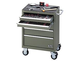 【直送・代引不可】 【SK20】KTC(京都機械工具) 工具セット ローラーキャビネットタイプ 70点組 9.5sq. マットグリーン SK37020RXMGR
