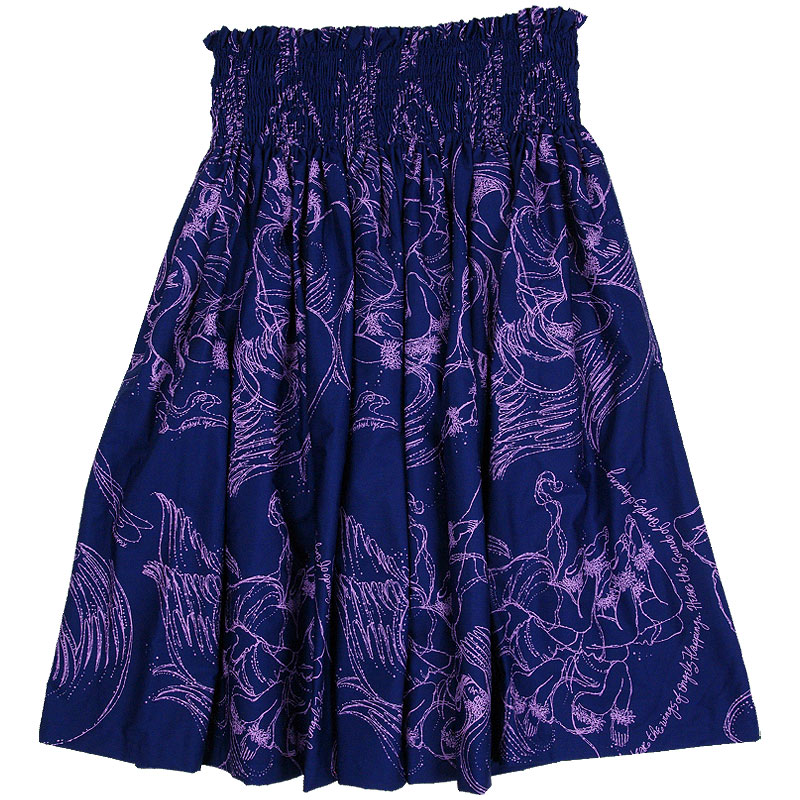 【フラダンスのパウスカート】Nakeu Awai製生地使用シングル・パウスカート【総柄/エンジェル柄/ネイビー×ラベンダー】