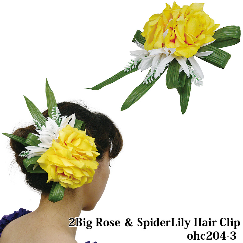 c8cd42f50 Artificial flower hair ornament for 2 big Rose & spider Lily barrette /  hula ...