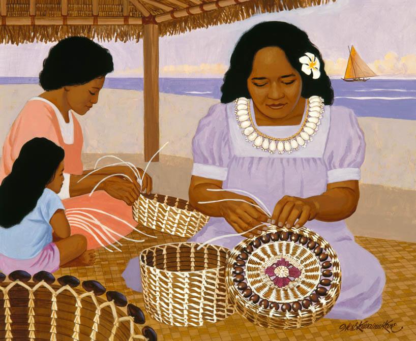 ハワイのジクレー版画アートプリント Basket Weavers (バスケット・ウィーバー) by ハーブ・ケイン(Herb Kane)