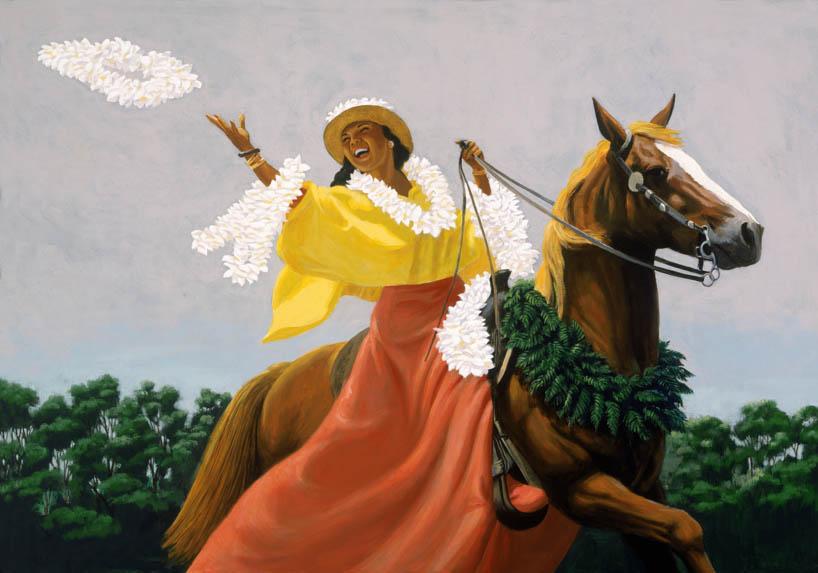 ハワイのジクレー版画アートプリント Lei Thrower (レイ・スローワー) by ハーブ・ケイン(Herb Kane)