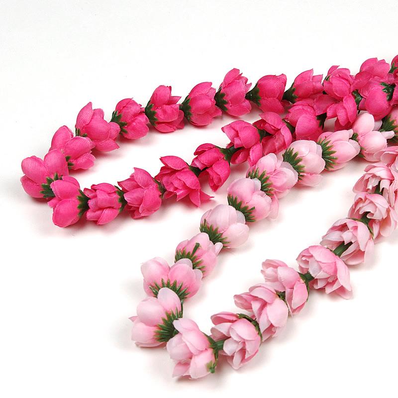 【フラダンス用レイ】フラダンスの衣裳に!バラの蕾がレイになっています。ロングレイなのでねじったりアレンジできます♪ フラダンス衣装 ハワイアンレイ ローズバッド ロングレイ ピンク ホットピンク