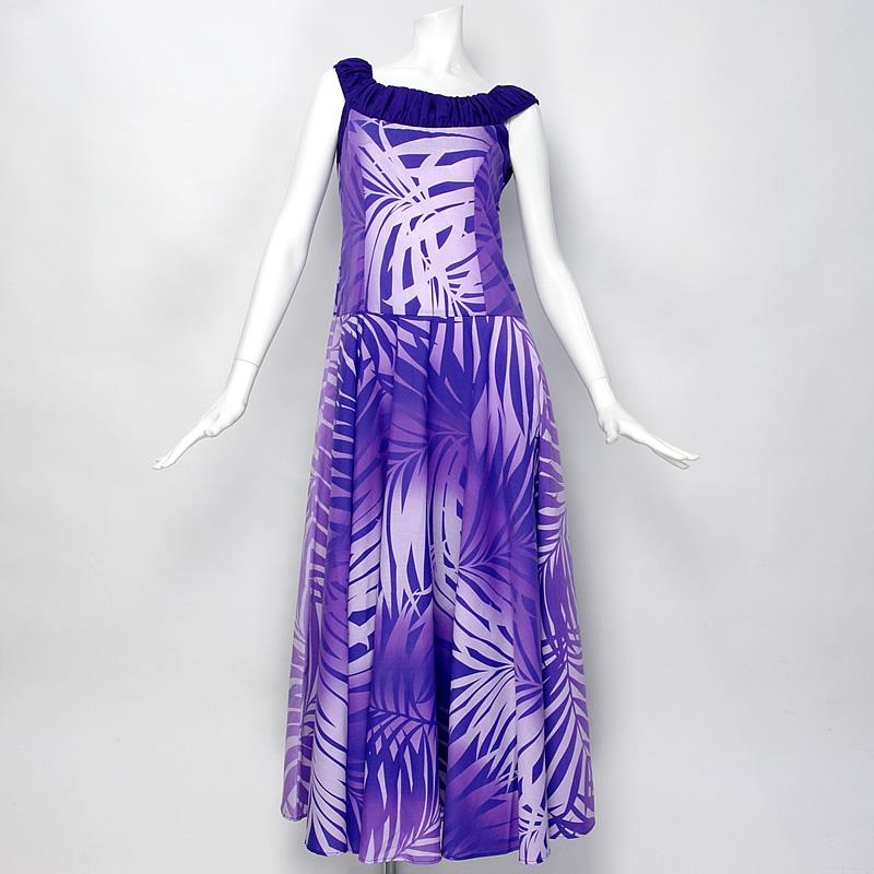 【ムームー/フラダンス衣装】ノースリーブ·フレアドレス【紫〜ラベンダーのグラデーション】
