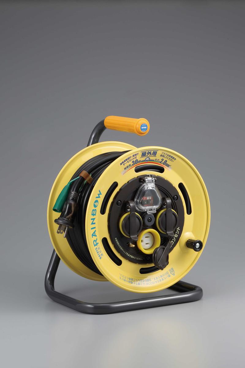 ハタヤ SBE-30KC レインボーリール(屋外用)(温度センサー付) 30m 接地付 過負荷付漏電遮断器