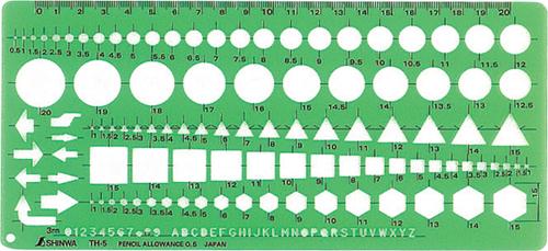 シンワ測定 スーパーセール 66025 テンプレート 一般総合定規 TH-5 中 全店販売中