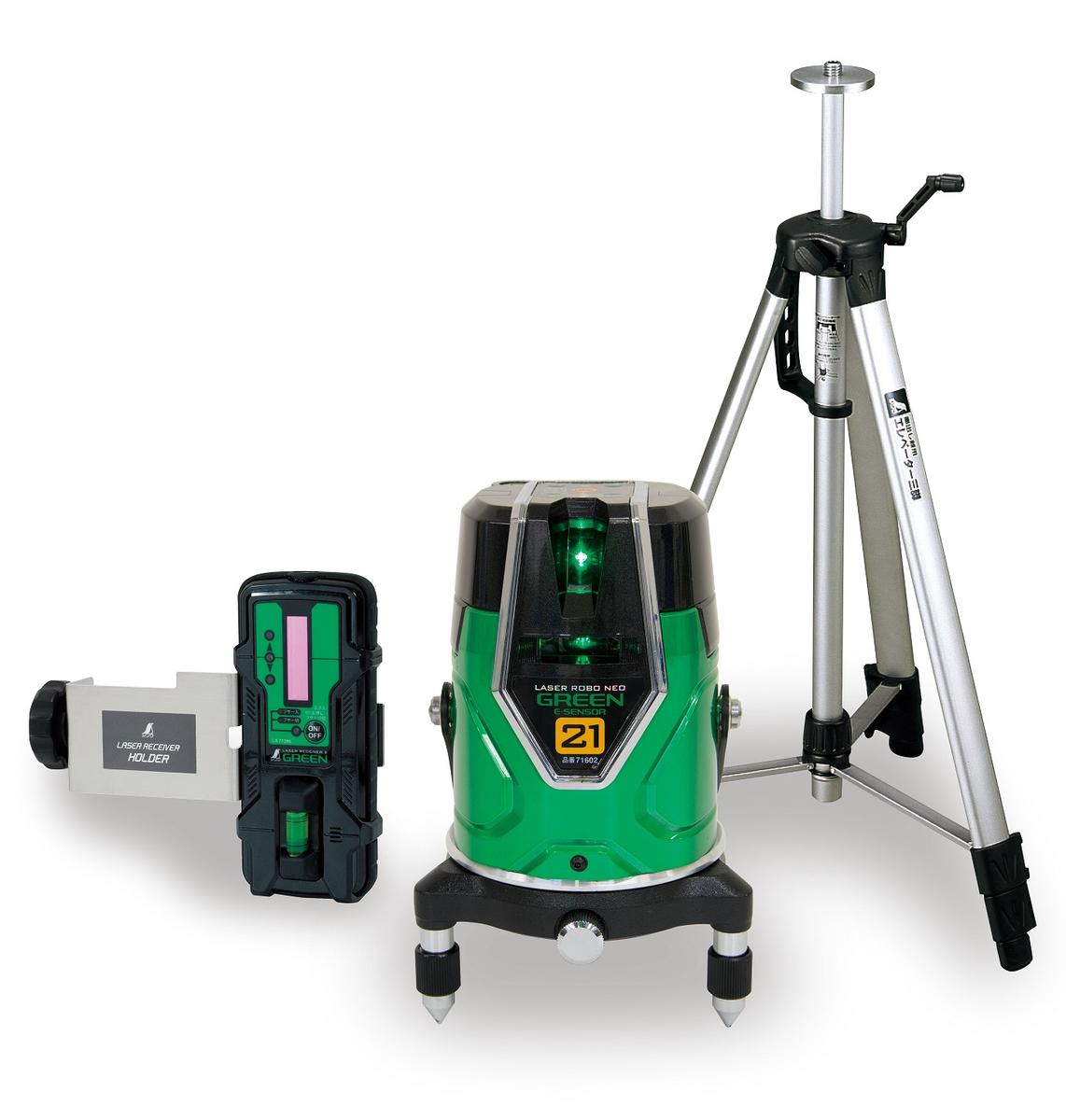 シンワ測定 71612 レーザーロボ グリーン Neo E Sensor 21 受光器・三脚セット
