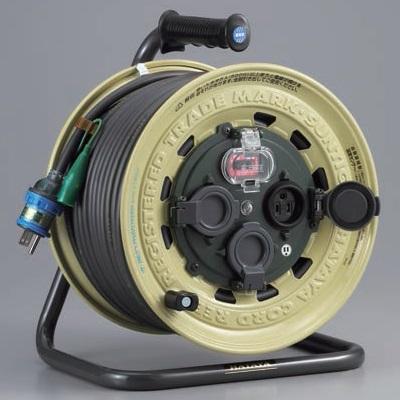 【ハタヤ】 屋外用サンタイガーレインボーリール BX-501K 防雨型 漏電遮断器・接地・温度センサー付 50m [コードリール・電工ドラム] 【HATAYA】