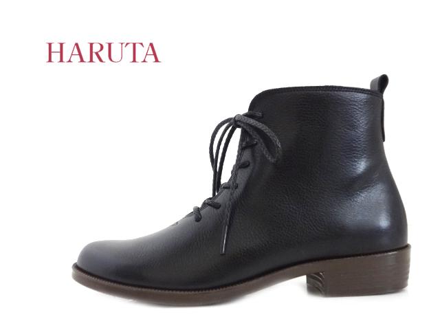 HARUTA(ハルタ)6239 BLACK ブラック 【定番】【レディース】【ブーツ】【牛革】【送料無料★沖縄・離島除く】ショートブーツ レースアップ サイドファスナー 通気性 日本製 MADE IN JAPAN