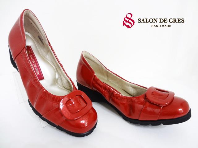 SALON DE GRES(サロンドグレー)SL18050/レッド/RED【オススメ商品】【送料無料】レディースコンフォートパンプス/ラバーソール/4Eゆったりサイズ/エナメルシューズ