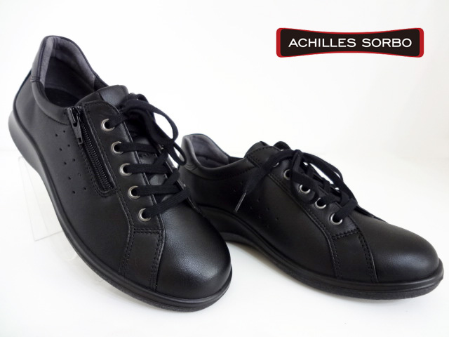 ACHILLES SORBO(アキレスソルボ)SRL203/黒/ブラック【送料無料】レディースコンフォートシューズ/ファスナー付/レースアップ/カジュアル/アキレス/エコー後継品