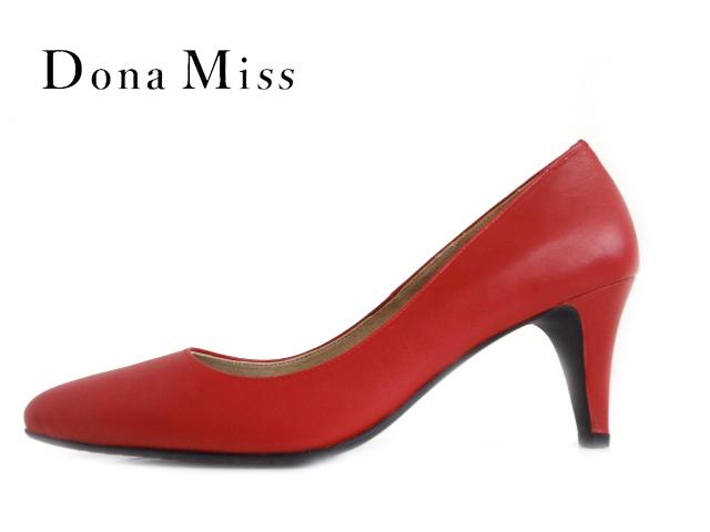 Dona Miss (ドナミス) 7500 RED/レッド 【送料無料★沖縄・離島除く】【レディース】 ポインテッドトゥパンプス【本革】 婦人靴 ソフトレザー インソールクッション入り Made in Japan 日本製