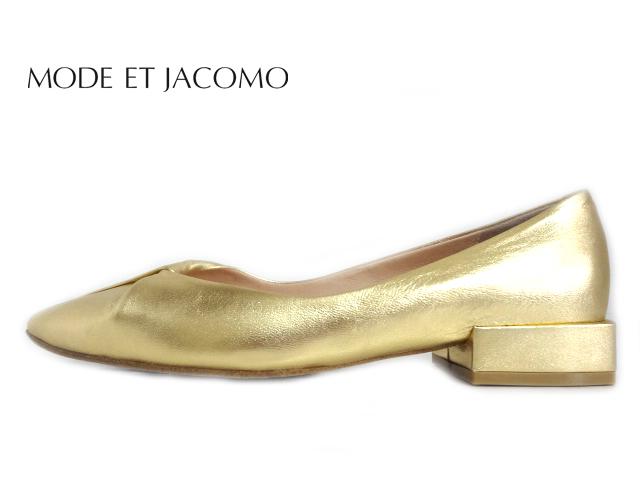 MODE ET JACOMO(モード エ ジャコモ) MJLF 02028 GOLD ゴールド【2020SS】【新作】【送料無料★沖縄・離島除く】レディース カッターシューズ ポインテッドトゥパンプス ローヒールパンプス デザインシューズ 日本製