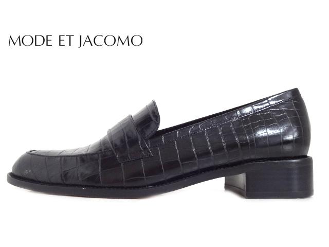 MODE ET JACOMO(モード エ ジャコモ) MJLF 02034 BLACK ブラック【2020SS】【新作】【送料無料★沖縄・離島除く】レディースローファー ヒールアップローファー 型押しデザイン クラシカルデザイン モード お洒落靴 お仕事 日本製