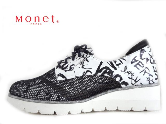 Monet(モネ)241003 アルファベット【2020SS】【新作】【送料無料★沖縄・離島除く】レディースレースアップシューズ コンフォートシューズ ウエッジソール メッシュコンビ デザインシューズ サイドゴア 日本製 Made in Japan