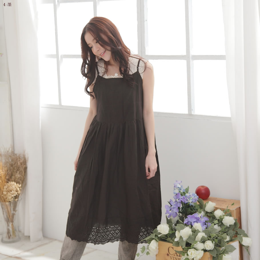 Back in stock 22 times ◆ cotton embroidered lace Camisole long dress