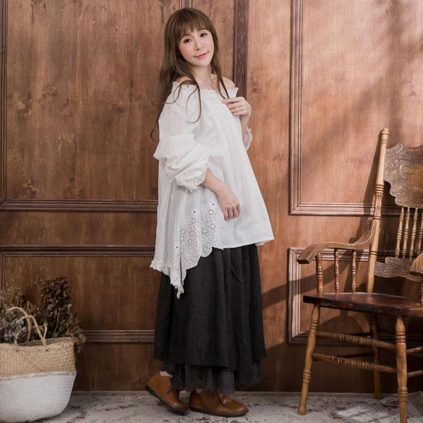 Seven minutes length cotton skirt