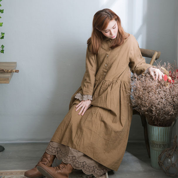 【おかげさまで10周年】【051030】 長袖 起毛 リネン コットン ロング ワンピース